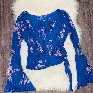 NWT free people cobalt blue & lavender wrap top